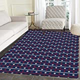 Navy Blue Mat Kid Carpet Horizontal Borders with Nautical Elements Marine Rope Anchor and Helm Home Decor Foor Carpe 3'x4' Red White Dark Blue