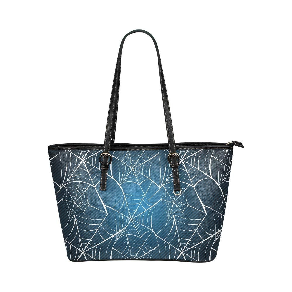 Halloween Black Grey Spider Web Large Soft Leather Portable Top Handle Hand Totes Bags Causal Handbags With Zipper Shoulder Shopping Purse Luggage Organizer For Lady Girls Womens Work