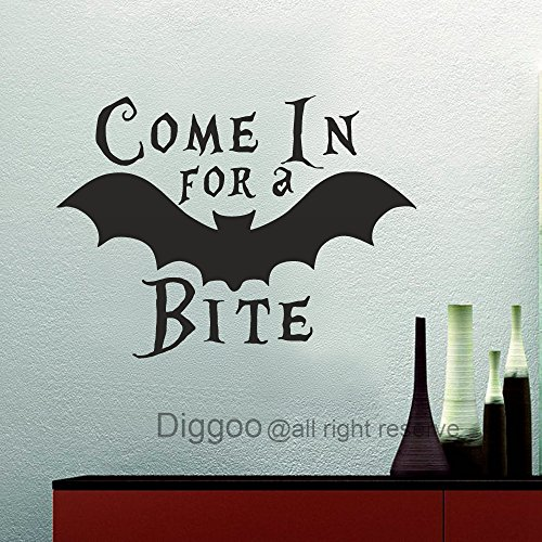 Come in For A Bite Bat Wall Decal Happy Halloween Vinyl Sticker Kids Nursery Baby Room Decor(Black,xs) ()