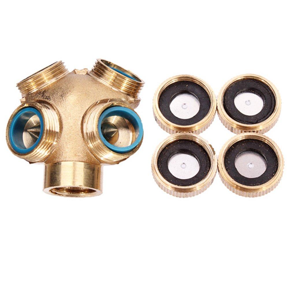 Tookie 4 Holes Brass Misting Nozzle, Sprinkler Head for Agricultural Garden Irrigation System, Garden Sprinklers Irrigation Fitting Hose Water Connector (gold)