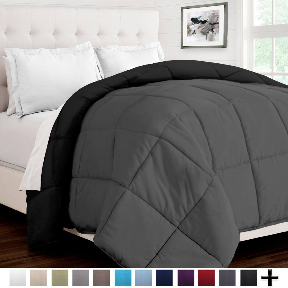 Bare Home Ultra-Soft Premium 1600 Series Goose Down Alternative Reversible Comforter - Hypoallergenic - All Season - Plush Fiberfill (Twin/Twin XL, Black/Grey)