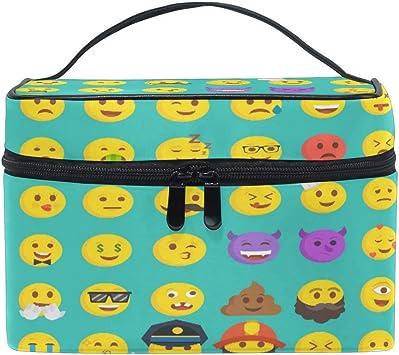 Bolsa de Maquillaje, Divertidos Dibujos Animados Emoji Estuche de Viaje portátil Gran impresión Cosmética Bolsa Organizador Compartimentos para niñas Mujeres Señora: Amazon.es: Equipaje