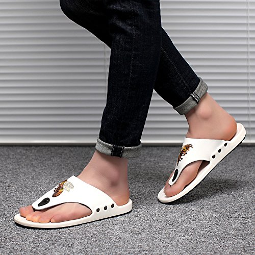 Abby 16815 Heren Gezellige String Split Open Teen Ademend Casual Zwembad Platte Sandalen Honey Bee Mode Flip Flops Verse Walkinng Slide Slippers Backless Eenvoudige Witte