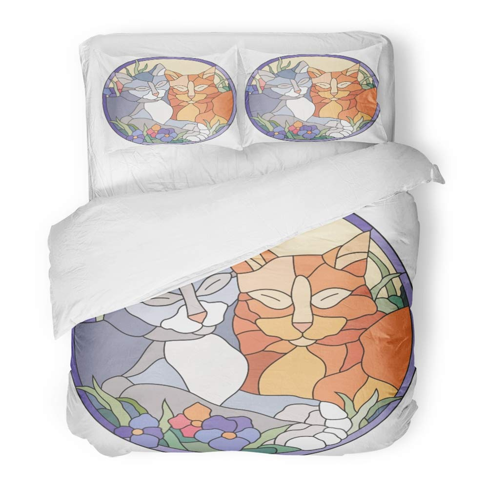 Emvency Bedding Duvet Cover Set Full/Queen Size (1 Duvet Cover + 2 Pillowcase) Blue Animal Stained Glass Window Cats Colorful Beauty Color Light Nature Hotel Quality Wrinkle and Stain Resistant