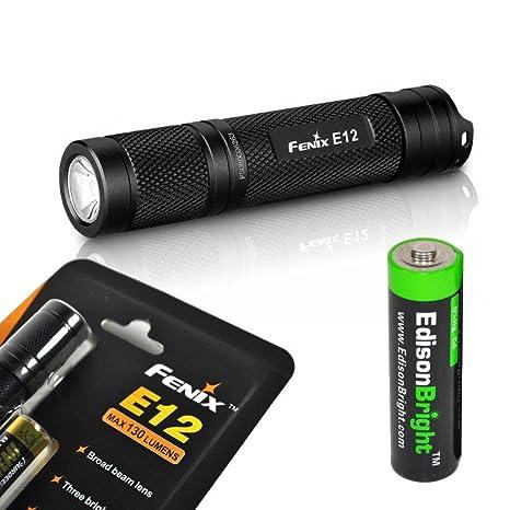Fenix E12 - Linterna (Linterna de mano, Negro, Aluminio, 1 lámpara(
