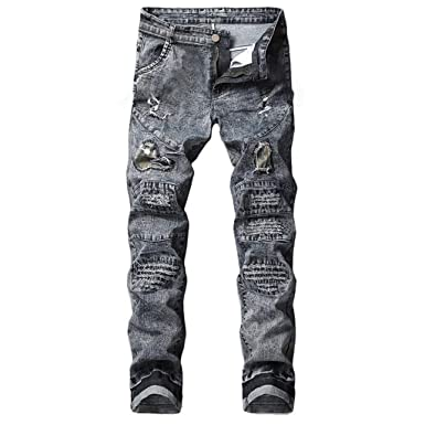 c96883a95ca Cinhent Men s Pants 2019 Stylish Street Stretchy Biker Taped Slim Fit Denim