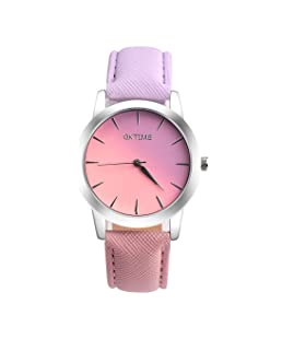 Becoler Leather Band Analog Alloy Quartz Wrist Watch for Girls Womens