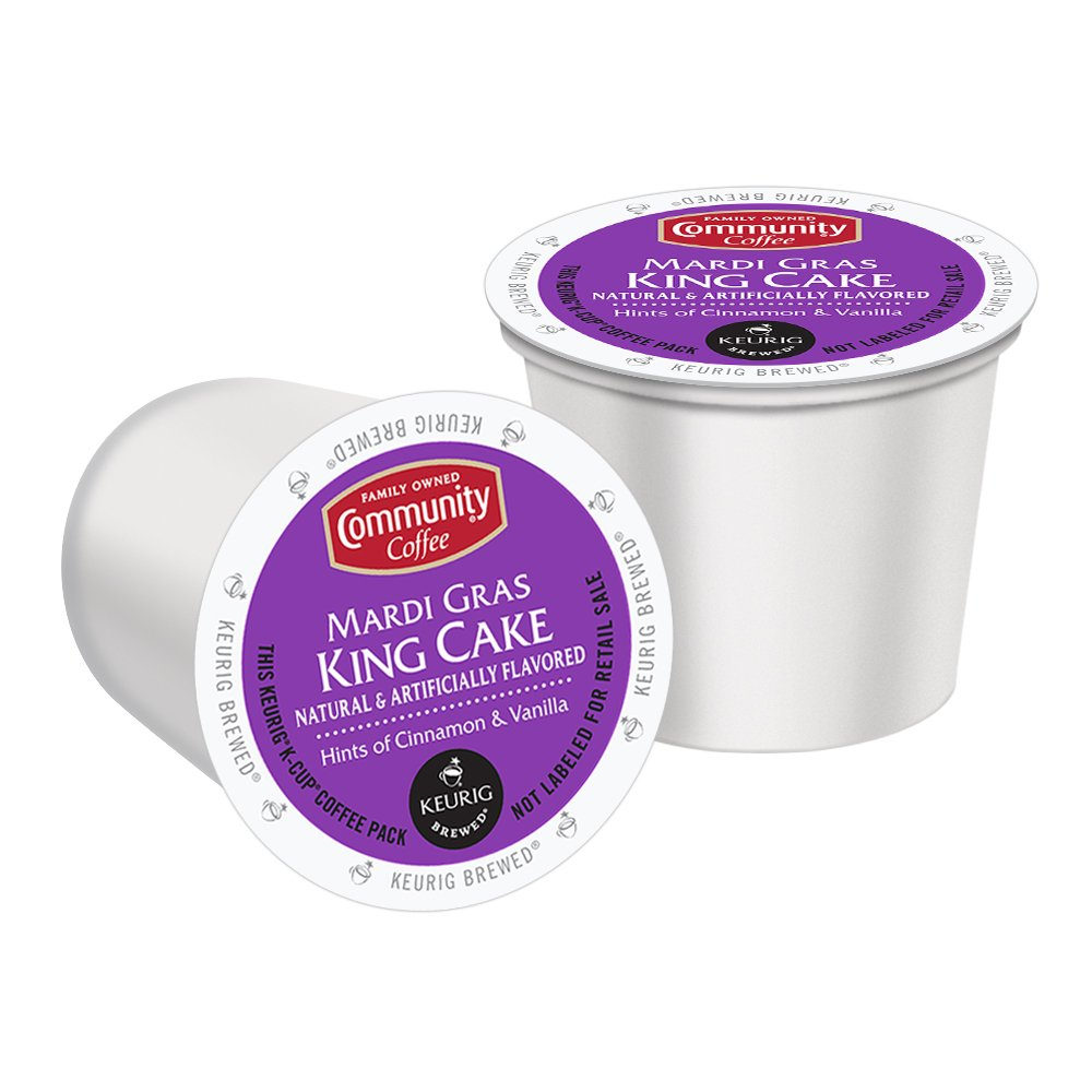 Community Coffee Mardi Gras King Cake K-Cup For Keurig Brewers, 12 Count (Pack of 6) by Community Coffee