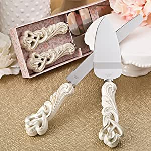 Fashioncraft Vintage Double Heart Design Knife And Cake Server Set, Ivory