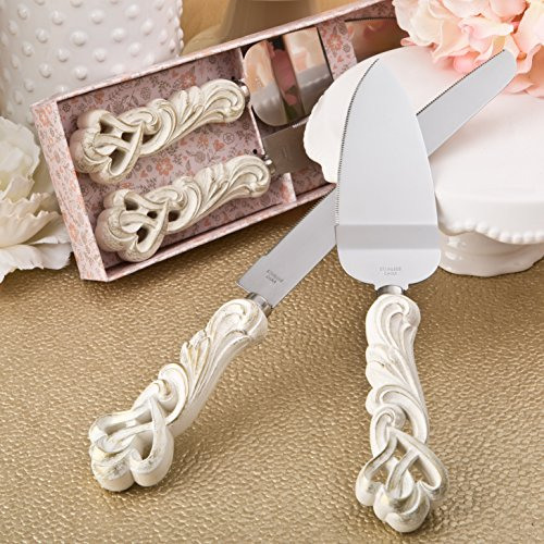 Cake And Server (Fashioncraft Vintage Double Heart Design Knife And Cake Server Set, Ivory, 2468)