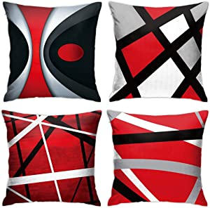 ABSOP Modern Abstract Red Stripes Throw Pillow Covers Set of 4 Gray Black White Lines Decorative Pillow Cases Home Decor Square Cushion Covers 18x18 Inches Pillowcases