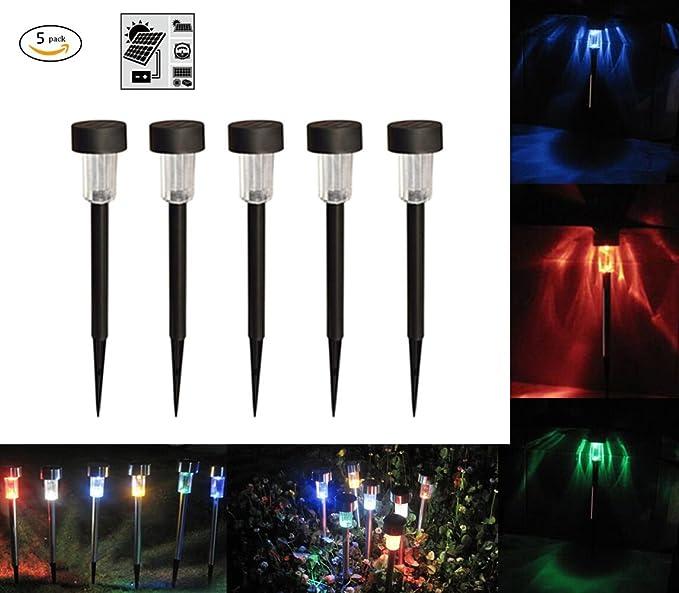 HHD® – Lote de 5 lámparas led solares de exterior con tulipa blanca; luz con 7 colores cambiantes, se recarga con el sol, para porches, jardines o caminos: Amazon.es: Iluminación