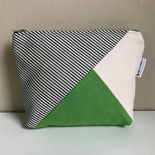 Canvas Makeup Bag, Small Zipper Pouch, Travel Toiletry Bag, Women's Toiletry Bag, Travel Cosmetic Bag, Beauty Bag, Green Makeup Pouch