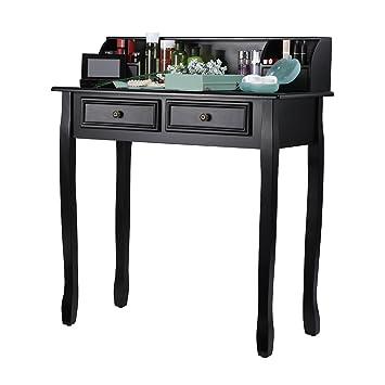 LANGRIA Tocador de Maquillaje Mesa de Escritorio Vintage con 4 Cajones y 3 Compartimentos Abiertos,
