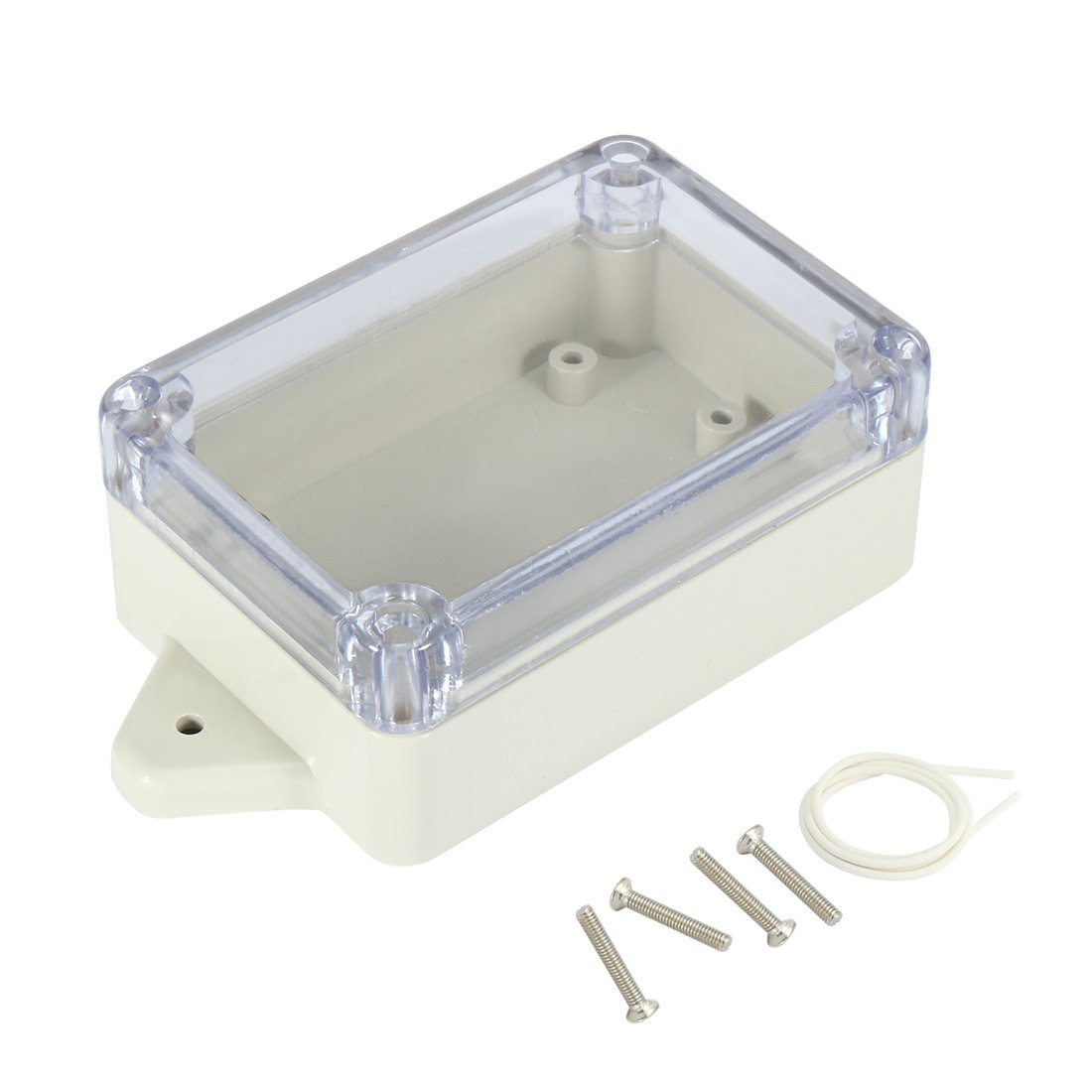 uxcell 3.3x2.3x1.3(83mmx58mmx33mm) ABS Junction Box Universal Project Enclosure w PC Transparent Cover a17031600ux1147