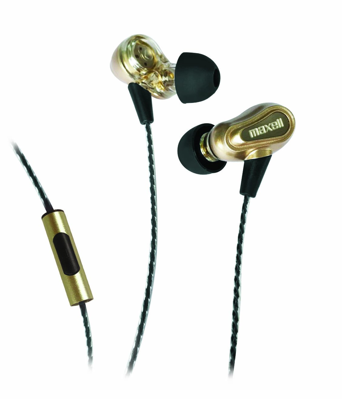 Maxell 199771 Hands Free Calling Extra Bass Boost Dual Driver Earbuds with Mic & Strong Twisted Cable & Metal Earbud Casing (Gold)