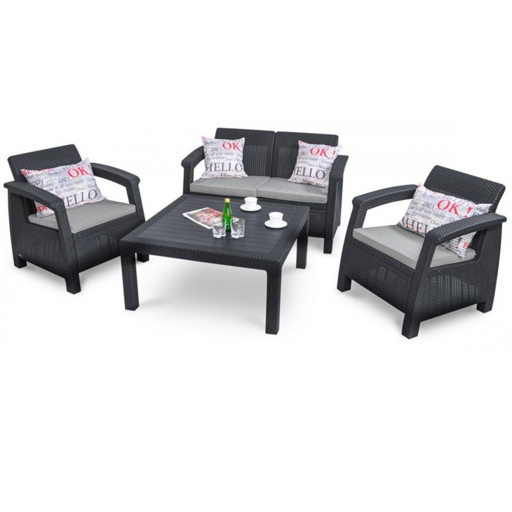 JUSThome Corfu Fiesta Family Sitzgruppe Gartenmöbel Gartengarnitur 2x Sessel + 1x Sofa + Tisch in Rattan-Optik Anthrazit Grau