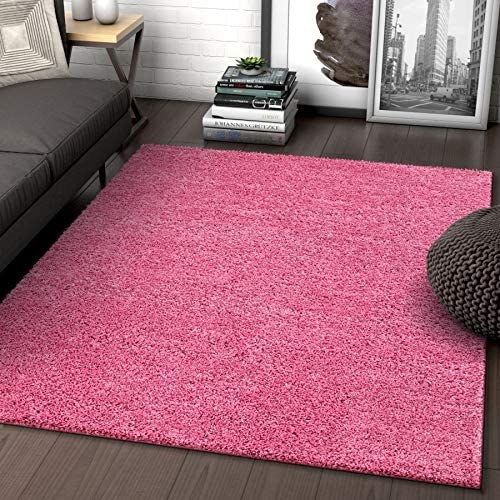 Solid Retro Modern Pink Shag 5×7 5 x 7 2 Area Rug Plain Plush Easy Care Thick Soft Plush Living Room Kids Bedroom
