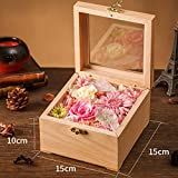 The Glass Live Roses/ Flower/Immortal Flower Photo Frame Solid Wood Gift Box/Creative Birthday Gifts-B
