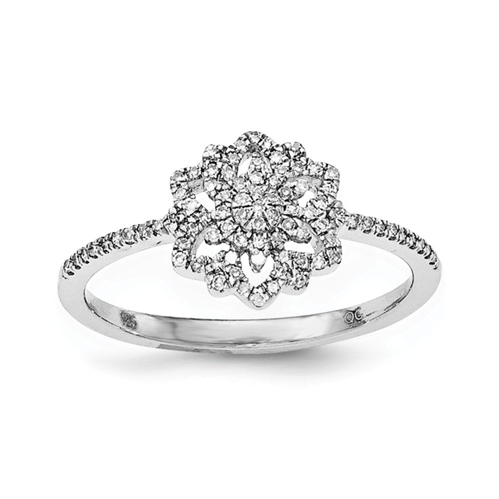 Size 6 Solid 925 Sterling Silver Diamond Flower Ring (.177ct.)