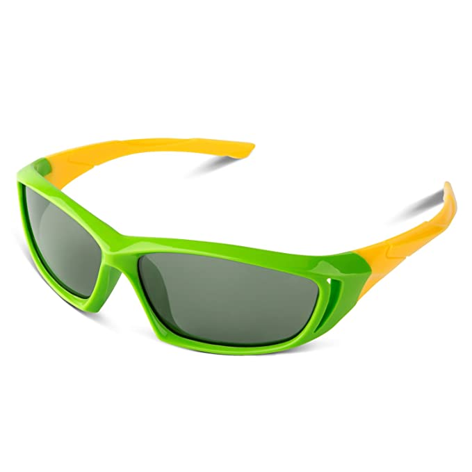 RIVBOS® Estilo de Kids - Gafas de sol Wayfarer polarizadas flexible de goma rbk005 para