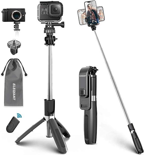 ,Black,160cm CHUANG TIAN Selfie Stick Bluetooth Remote Control Stable Aluminum Alloy Selfie Stick with Tripod Black