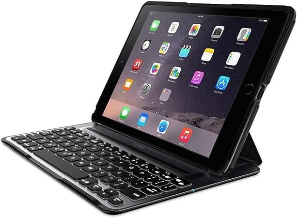 Belkin QODE Ultimate F5L176EABLK - Funda con Teclado para iPad Air 2 (QWERTY, aleación de Aluminio, Encendido automático), Negro