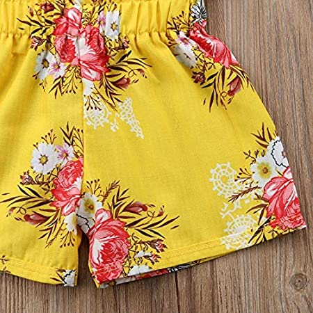 Beutique 2pcs Toddler Baby Girl Clothes Floral Ruffled Top Vest Shorts Summer Outfits Set Multi-Color,6T7T