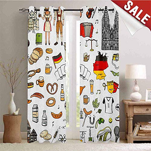 - German Decorative Curtains for Living Room Hand Drawn Doodle of German Culture Icons Football Jersey Food Science and Music Waterproof Window Curtain W96 x L96 Inch Multicolor