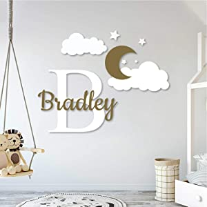Multiple Font Custom Name & Initial Moon Clouds Stars - Baby Boy - Nursery Wall Decal for Baby Room Decorations - Mural Wall Decal Sticker for Home Children's Bedroom (MM109V2)