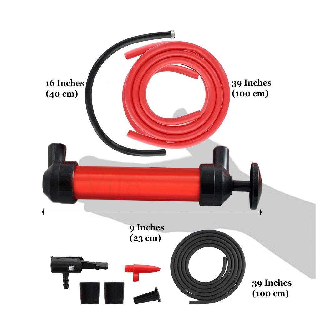 Manual Siphon Pump Kit - Heavy-Duty, Hand Pumping Pipe - Fast Acting 15'' Siphon Tube - Variety of Uses from Automotive, Rain Barrels to Water Gardens by Vila (Image #4)