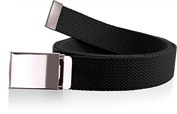 Canvas Web Belt Military Grade Cotton Flip-Top Metal Clamp Buckle Cut-To- 00548a85de08
