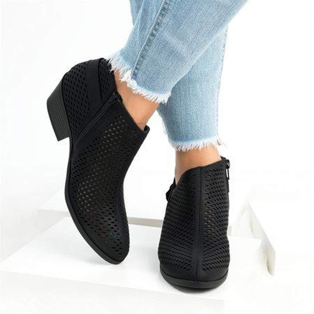 BEAUTYVAN Women's Ankle Booties Summer Casual Solid Ponited Toe Mid Heeled Sandals (US:6.5, Black) by BEAUTYVAN (Image #4)