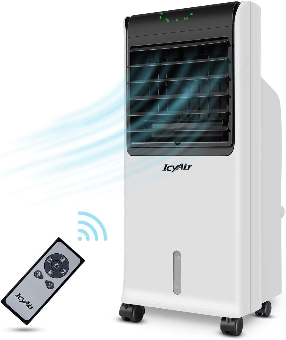Condizionatore Portatile Raffreddatore dAria Silenzioso Mobile con Vaschetta del Ghiaccio e Telecomando a Bassa Energia con Ventilatore e Umidificatore Funzione Timer 7,5 ore per Casa e Ufficio