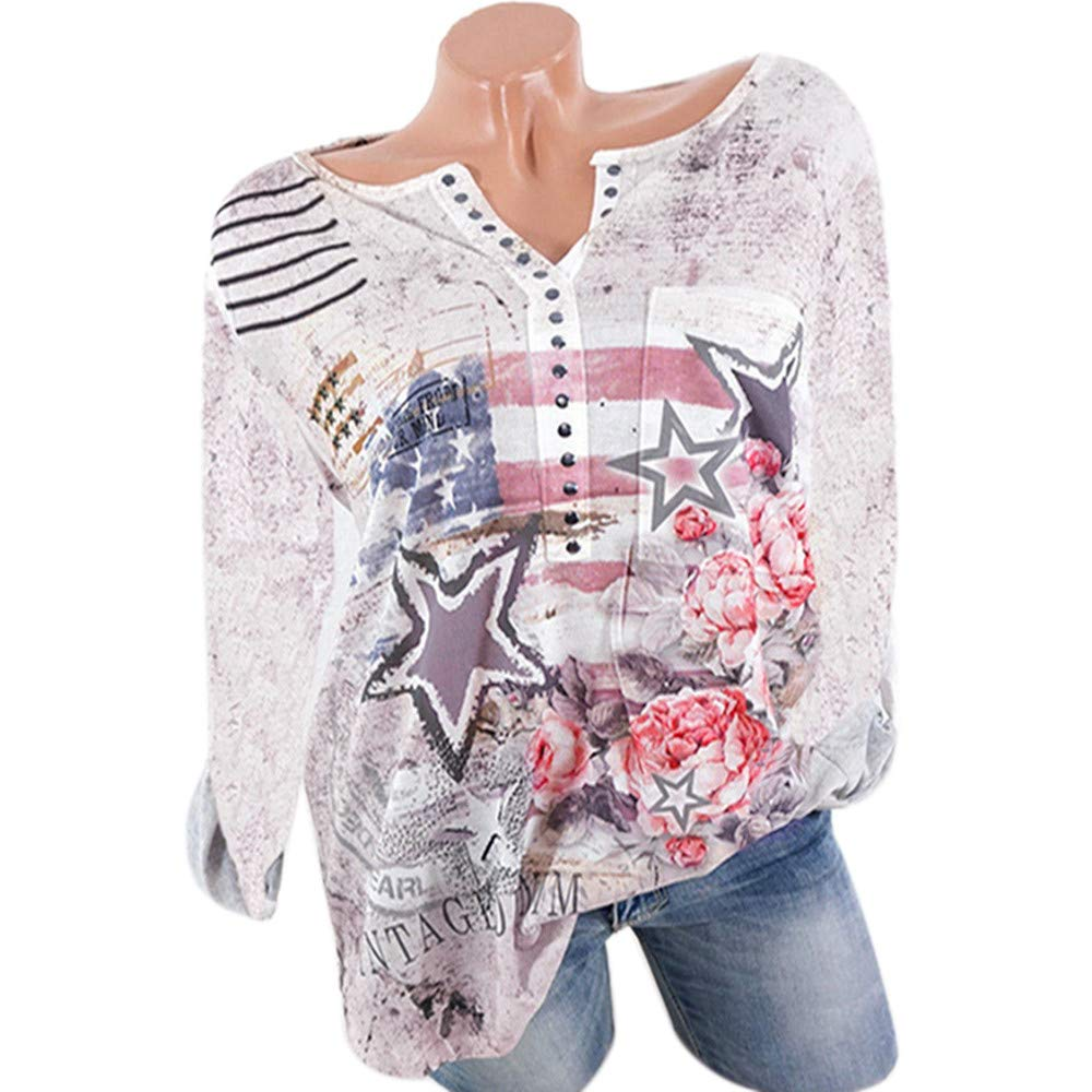 Women Ladies Long Sleeve Floral Print Casual Tops T-Shirt Loose Blouse Womens Tops