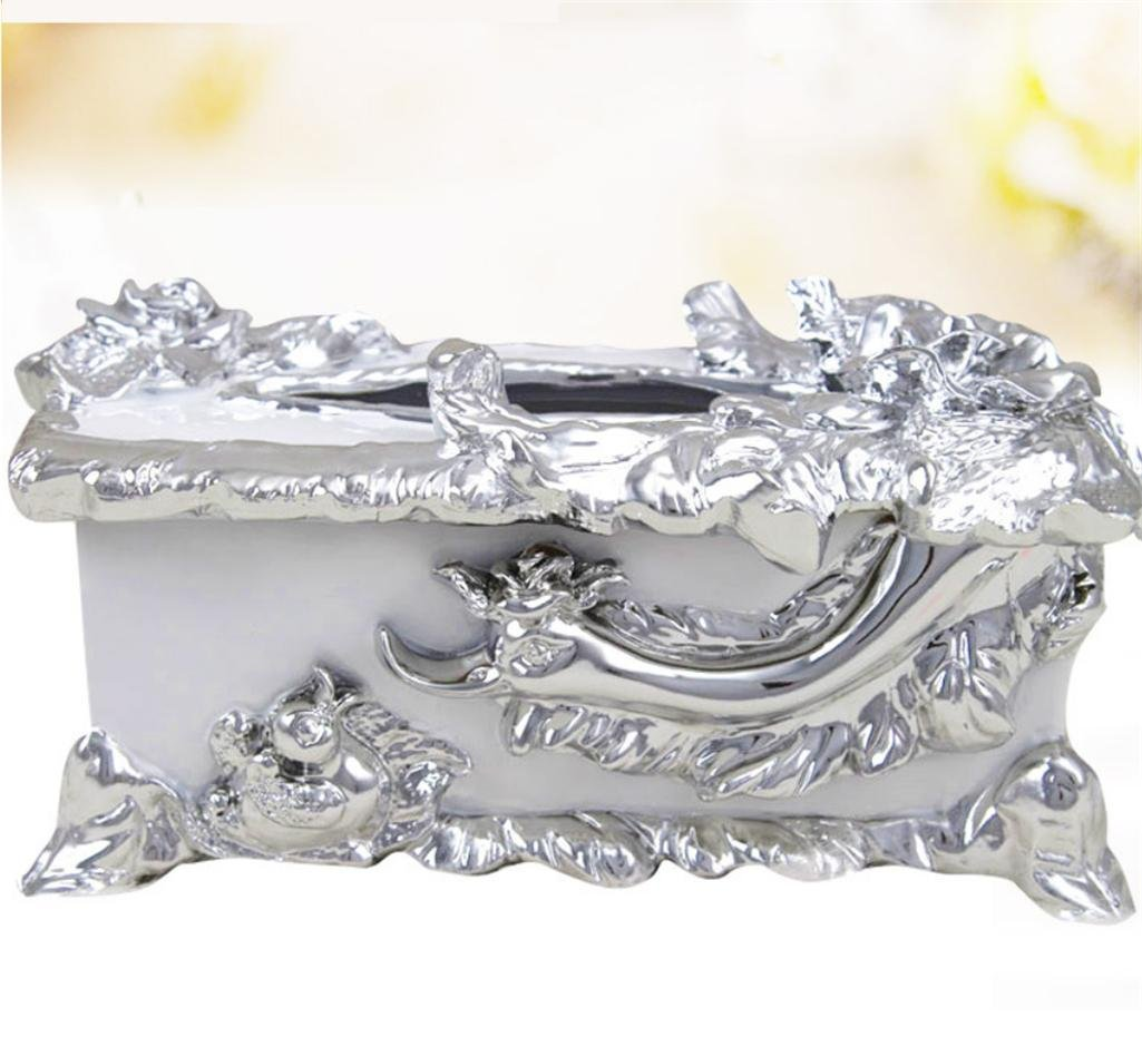 GFYWZ Upscale Environmental protection Resin European style Rectangular Tissue Box Cover Creative Home Hotel Clubhouse Paper Cover Case , 2 , 291816cm