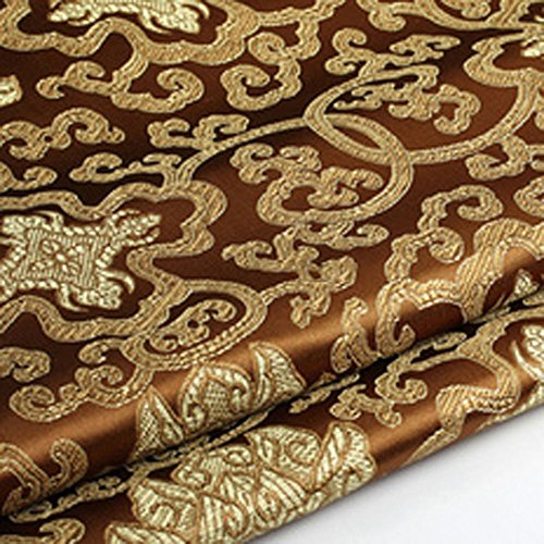 (Shanghaipop 10Colors Chinese Embroidery Flower Brocade Silky Satin Fabric for Sheet Quilting by Meter)