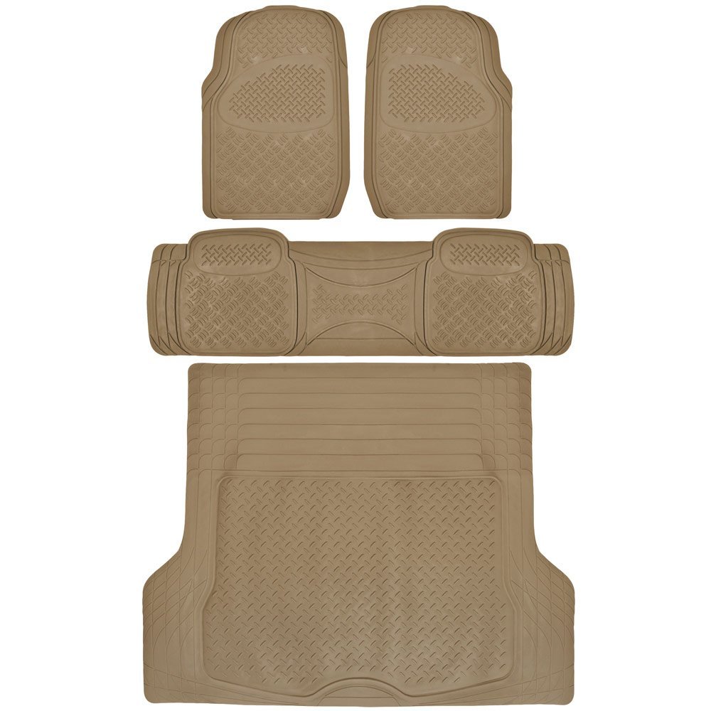 BDKUSA 4pc All Weather Heavy Duty Rubber SUV Floor Mat 2 Row & Cargo Mat (SUV Beige)