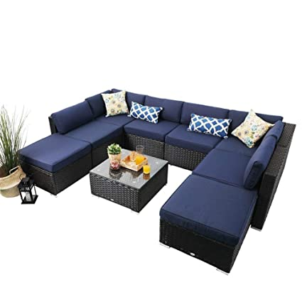 PHI VILLA Outdoor Rattan Sectional Sofa- Patio Wicker Furniture Set (9-Piece)