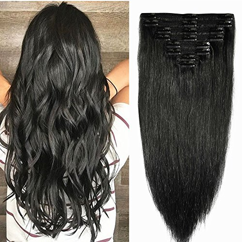 Double Weft Clip in 100% Remy Human Hair Extensions 10'-22' Full Head Grade...