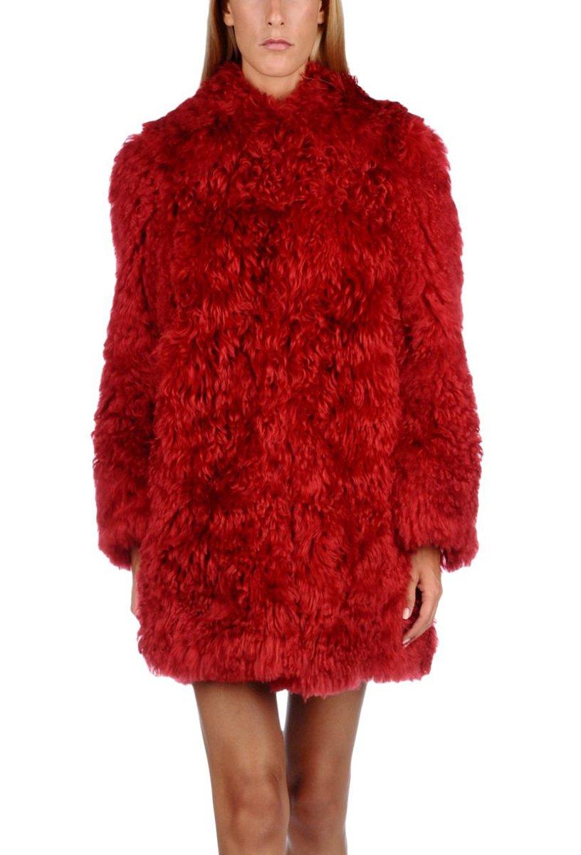 Eliacher Women's Winter Thick Outerwear Warm Long Fluffy Faux Fur Warm Coat (M, Red)