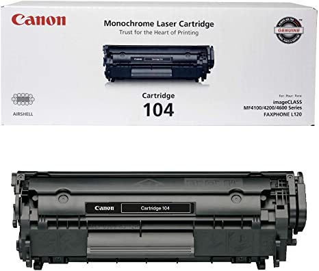 Canon Genuine Toner, Cartridge 104 Black (0263B001), 1 Pack, for Canon imageCLASS D420, D480, MF4150d, MF4270dn, MF4350d, MF4370dn, MF4690 Laser ...