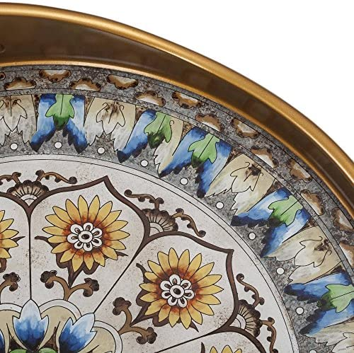 NOVICA Blue and White Reverse Painted Glass Round Tray Blue Andean Mandala