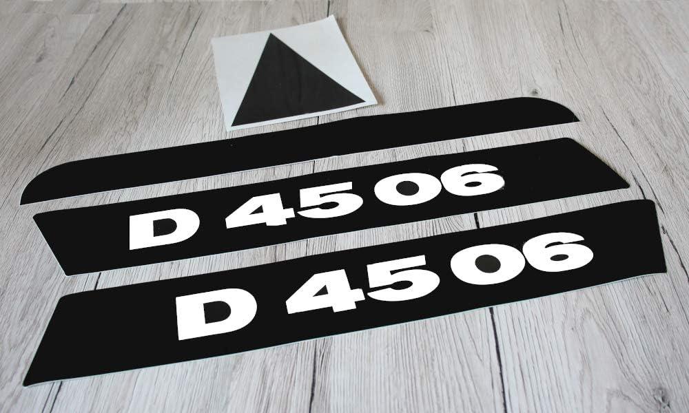 Deutz Aufkleber f/ür Traktor D4506 Motorhaube lang Logo Emblem Sticker Label schwarz//wei/ß schwarzer Balken /& Dreieck