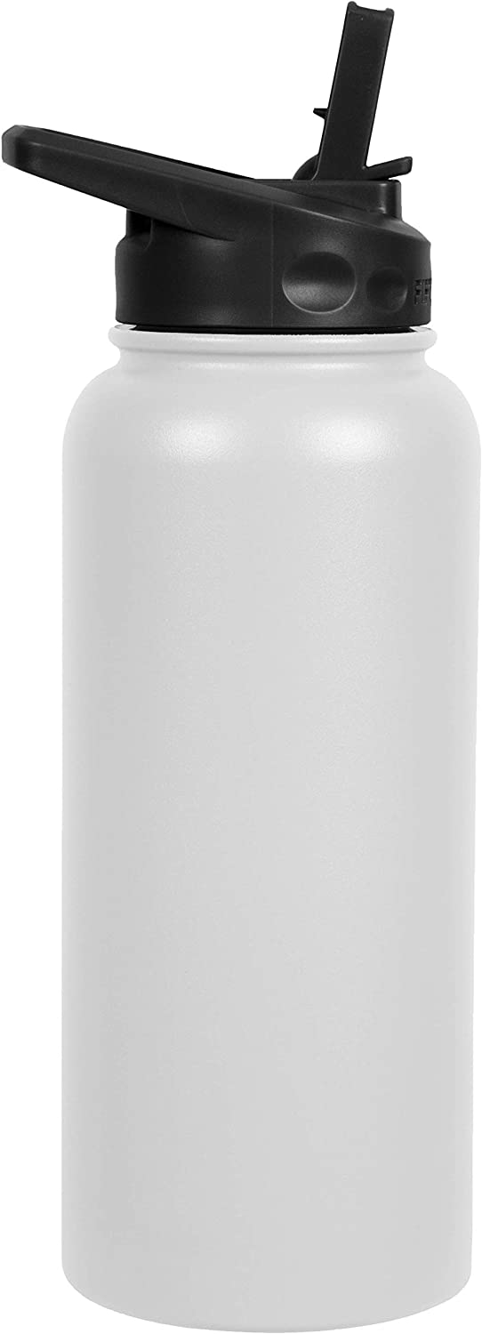 FIFTY/FIFTY Sport Water Bottle, Straw Cap with Wide Mouth, 34 oz/1 Large, Winter White