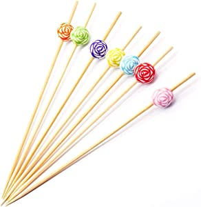 """Putwo Cocktail Picks Bamboo Handmade Appetizer Toothpicks 4.7"""" 100ct Assorted Color in Rose Shape"""
