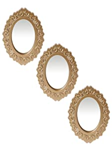 Zahab Decorative wall mirror for living room/bed room Vanity Plastic frame set of 3