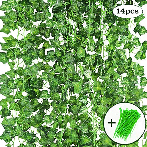 CEWOR 14 Pack (79 inch Each) Fake Ivy Leaves Artificial Ivy Leaves Greenery Garlands Hanging Plant Vine with 50 Green Nylon Cable Ties for Wedding Party Garden Wall Decoration