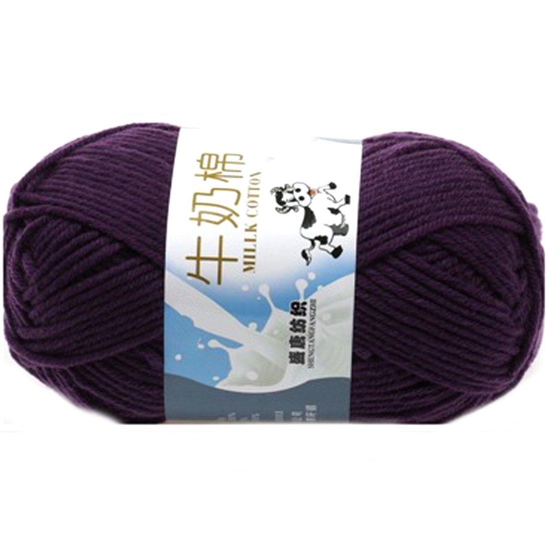 Smooth Cotton Natural Hand Knitting Wool Yarn Ball Baby Wool Craft-Dark Purple Fashion?Life