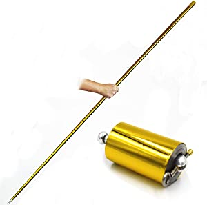 OUERMAMA 1 Pcs 150CM Golden Color Metal Appearing Cane with Free Gloves and Video Tutorial, Pocket Staff Magic Wand Stage Close-up Magic Trick